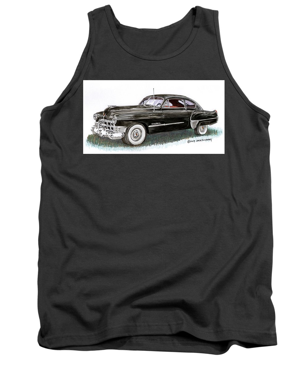 Framed Prints Of Cadillacs. Framed Canvas Prints Of Cadillac Fine Art. Famed Art Of Cadillac Hard Top Convertibles. Framed Art Of Great American Classic Cadillacs. Tank Top featuring the painting 1949 Cadillac Sedanette by Jack Pumphrey