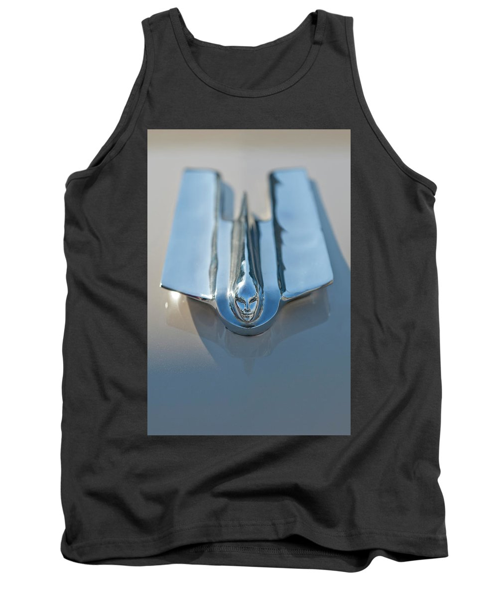 1955 Cadillac Coupe Tank Top featuring the photograph 1955 Cadillac Coupe Hood Ornament by Jill Reger