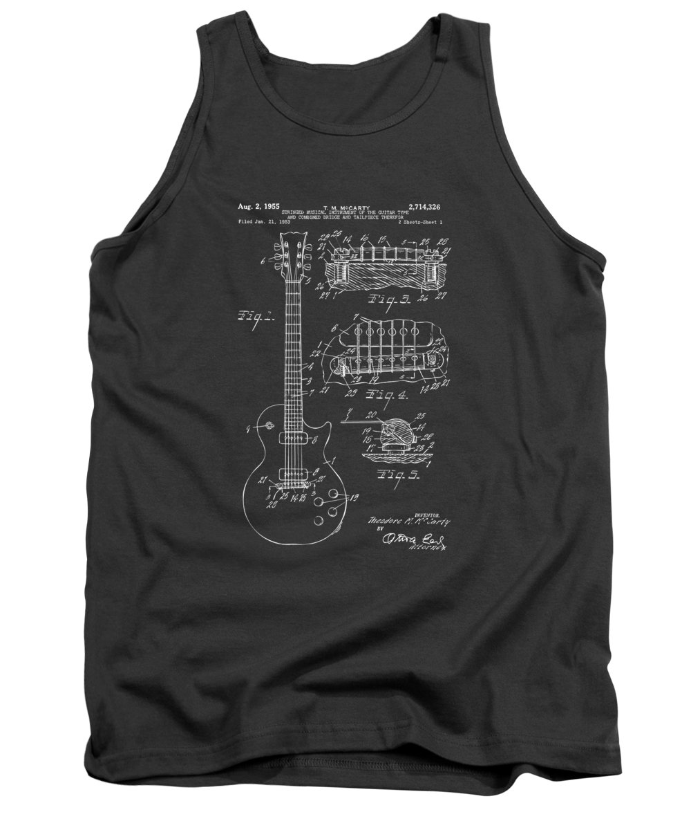 Guitar Tank Top featuring the digital art 1955 McCarty Gibson Les Paul Guitar Patent Artwork - Gray by Nikki Marie Smith