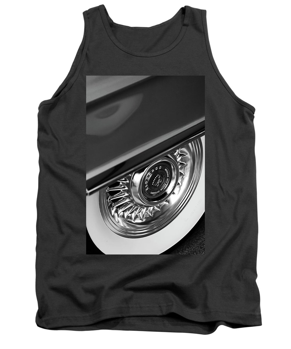 Car Tank Top featuring the photograph 1956 Cadillac Eldorado Wheel Black And White by Jill Reger