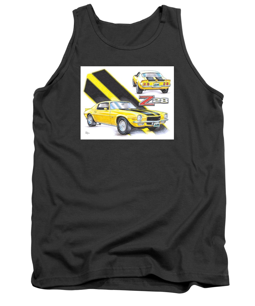 1970 Tank Top featuring the drawing 1970 Chevy Camaro Z28 by Shannon Watts