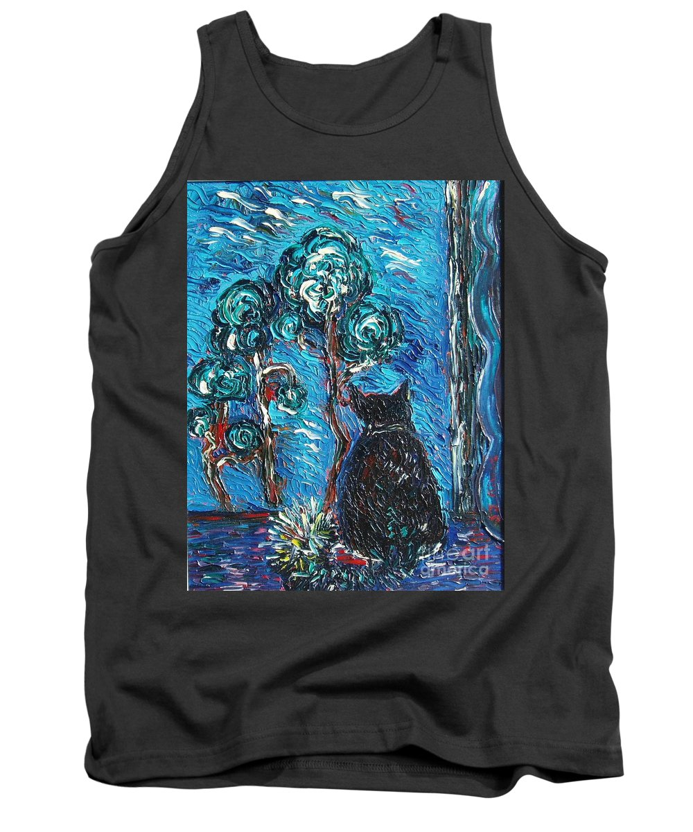 Cat Paintings Tank Top featuring the painting A Black Cat by Seon-Jeong Kim