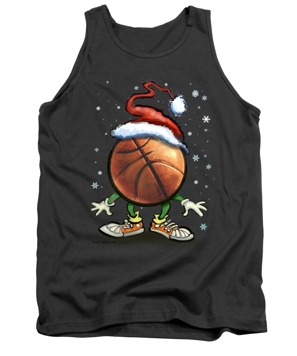Basketball Tank Top featuring the digital art Basketball Christmas by Kevin Middleton