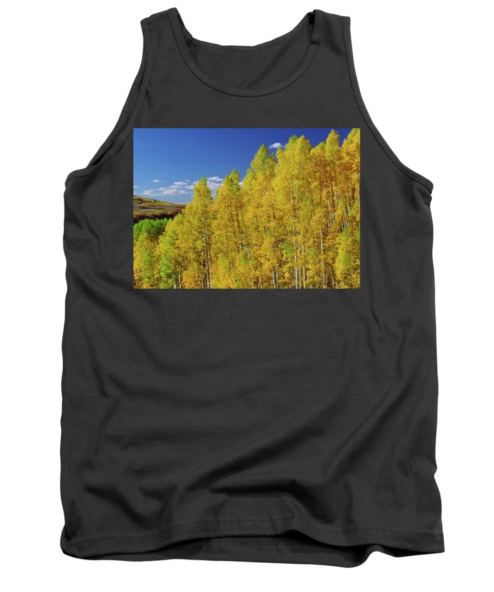 Mountain Tank Top featuring the mixed media Beautiful Fall Season Nature Renews Itself Theme Green Trees Mountain N Sky View  Save The Environ by Navin Joshi