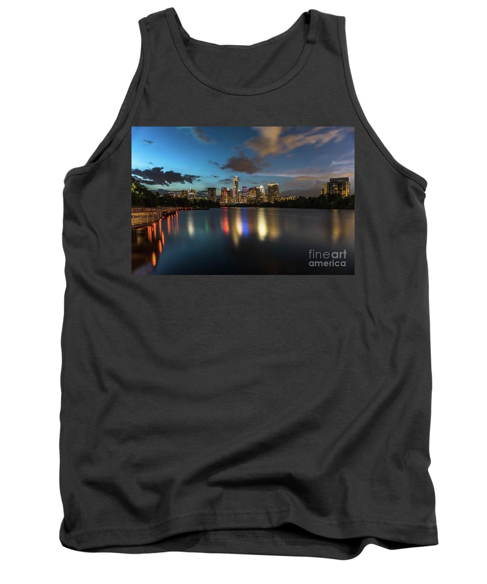Boardwalk Trail Tank Top featuring the photograph Clouds Roll Over The Austin Skyline As The Neon Reflects In The Glass-like Waters Of Lady Bird Lake by Austin Welcome Center
