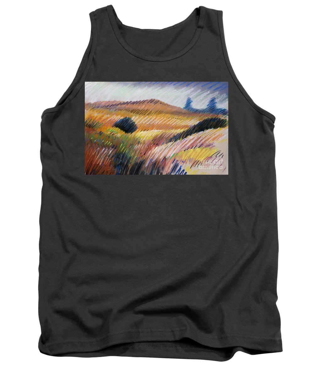 Pastel Tank Top featuring the drawing Coastal Hills by Donald Maier