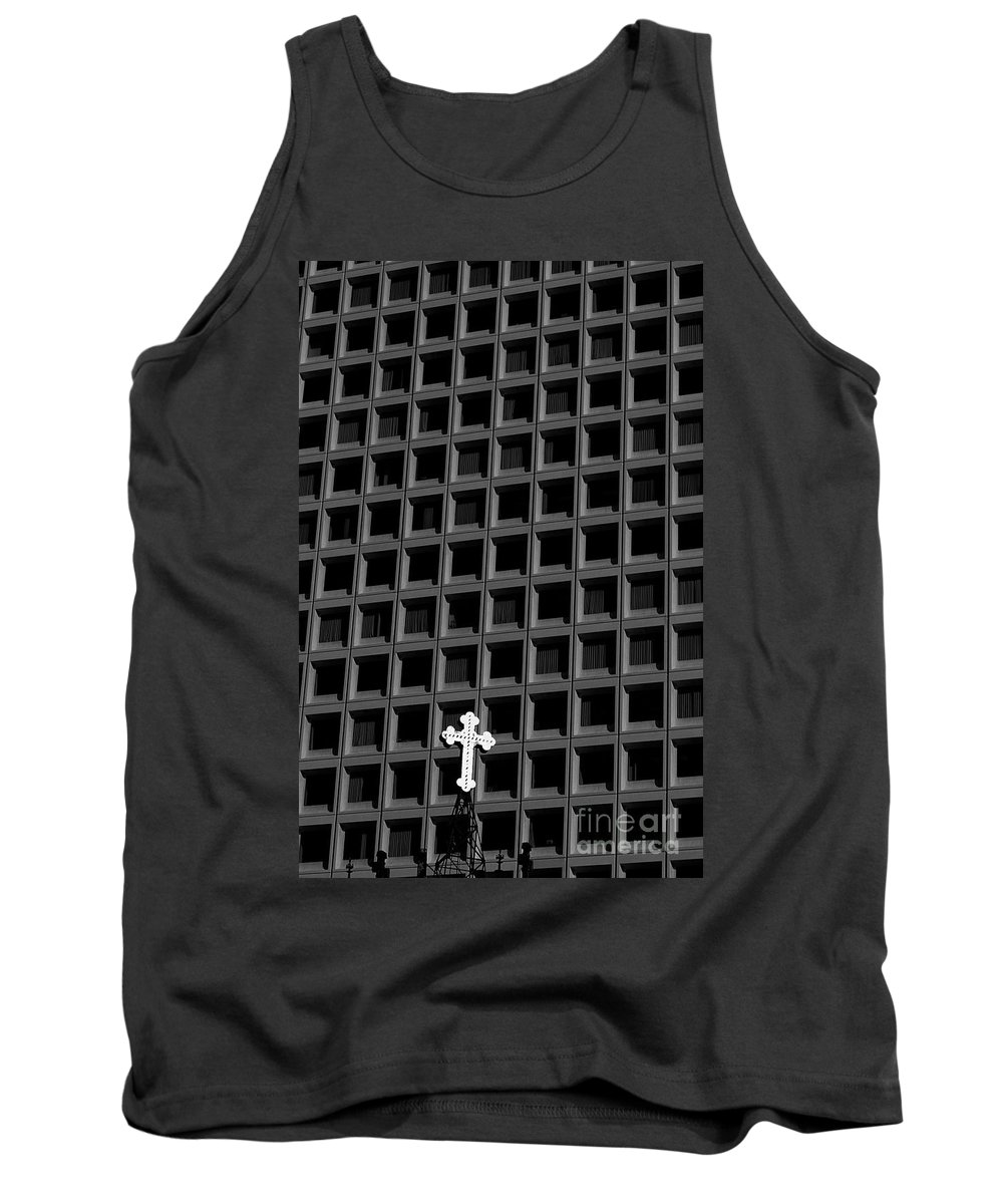 Travel Tank Top featuring the photograph Cross And Building by Jim Corwin