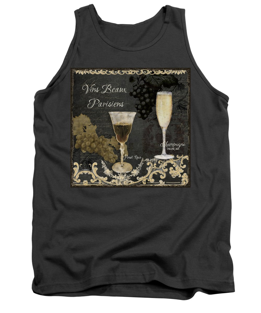 Chalk Tank Top featuring the painting Fine French Wines - Vins Beaux Parisiens by Audrey Jeanne Roberts