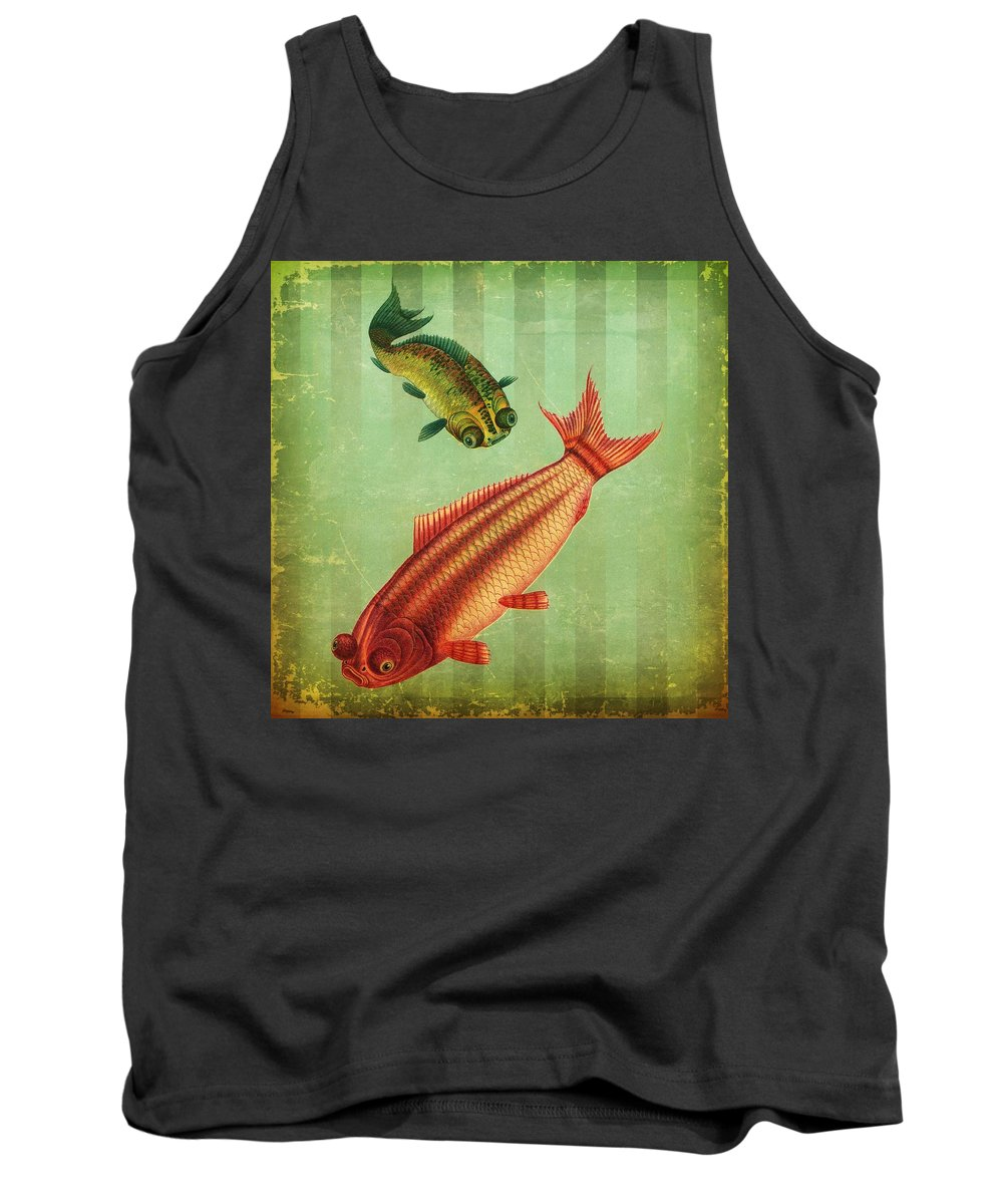 Goldfish Tank Top featuring the digital art 2 Fish by Connie Goldman