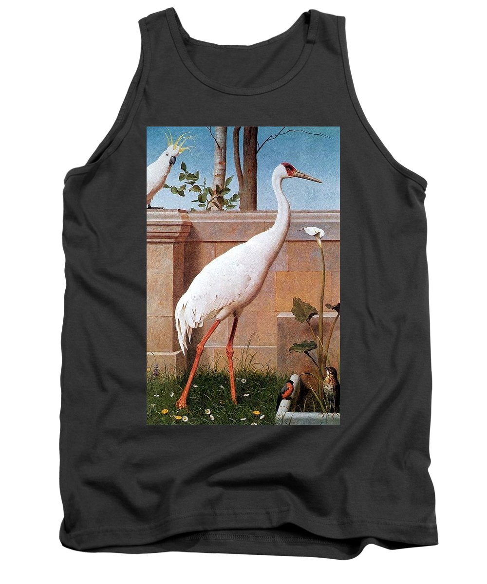 Bird Tank Top featuring the digital art kb Marks Henry-Indian Crane Bullfinch and Thrush Henry Stacy Marks by Eloisa Mannion
