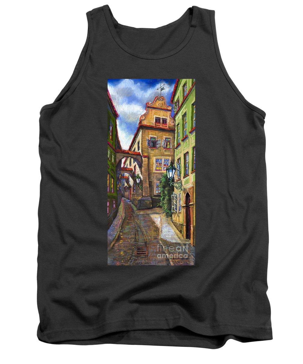 Prague Tank Top featuring the painting Prague Old Street by Yuriy Shevchuk