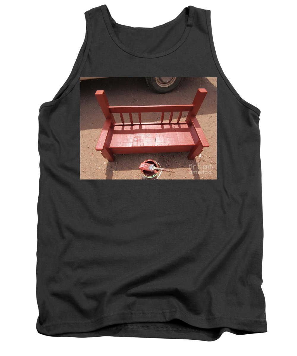 Red Tank Top featuring the photograph Red Bench by Frederick Holiday