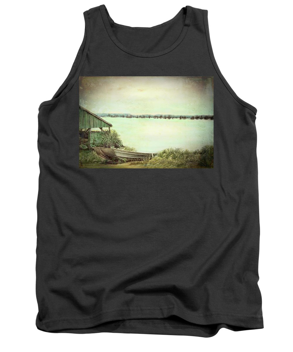 Reelfoot Lake Tank Top featuring the painting Reelfoot Lake Fishing by Bonnie Willis