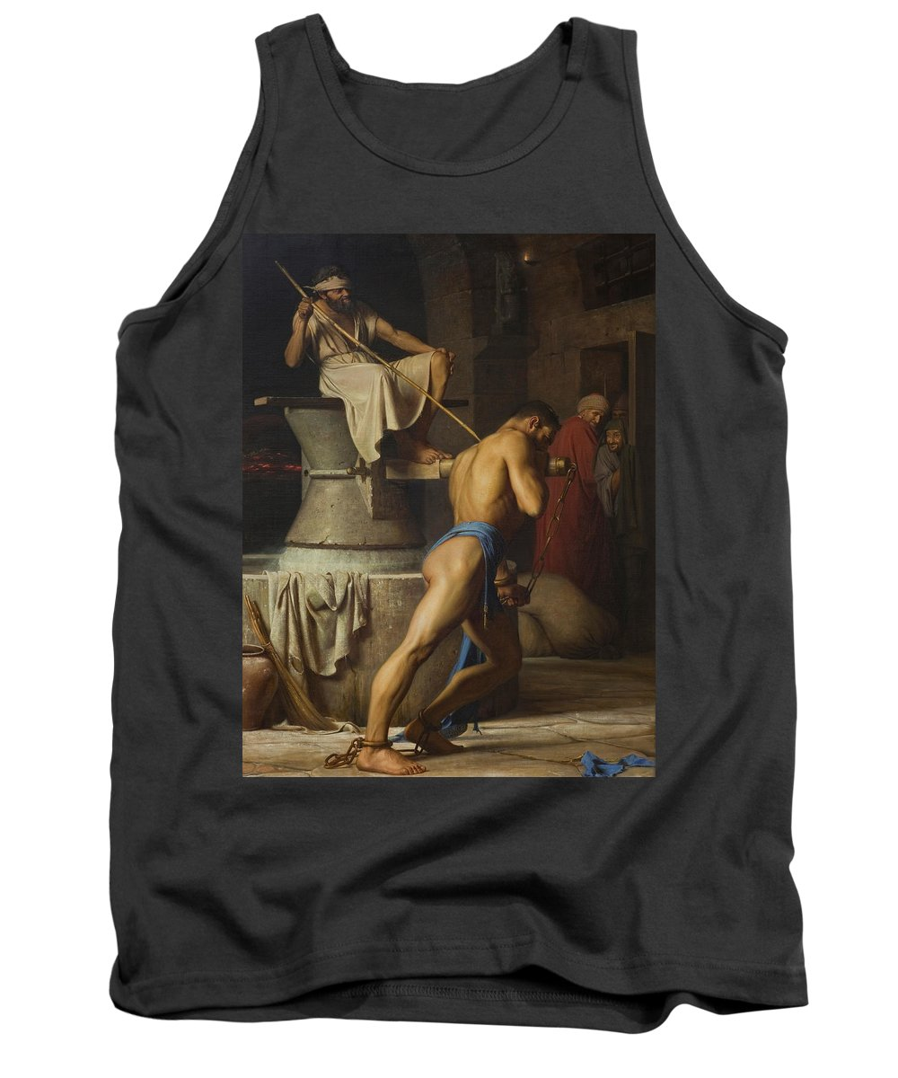 Nude Tank Top featuring the painting Samson And The Philistines by Carl Bloch