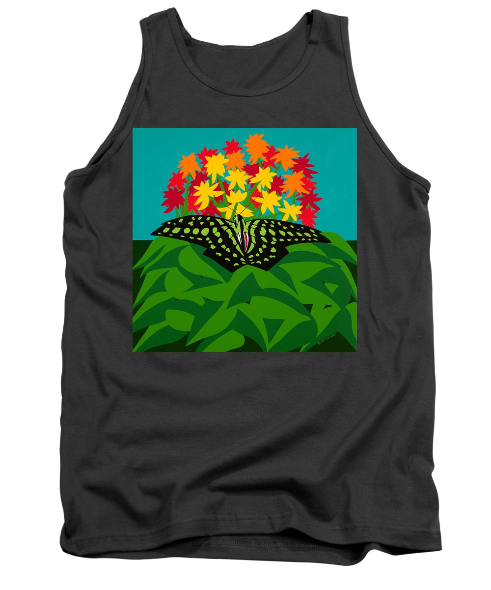 Butterflies Tank Top featuring the painting Tailed Jay by Synthia SAINT JAMES