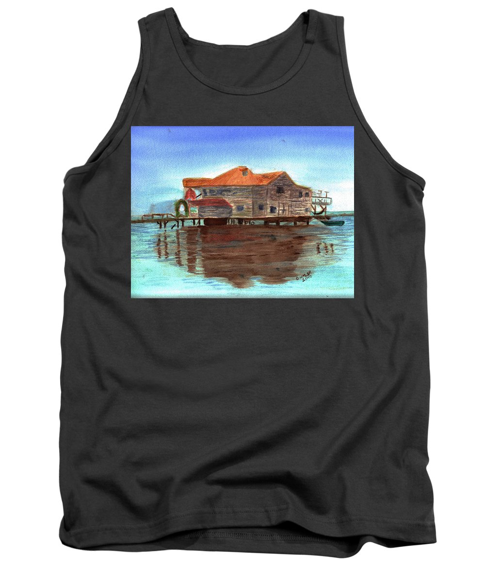 Water Tank Top featuring the painting West End Roatan by Donna Walsh