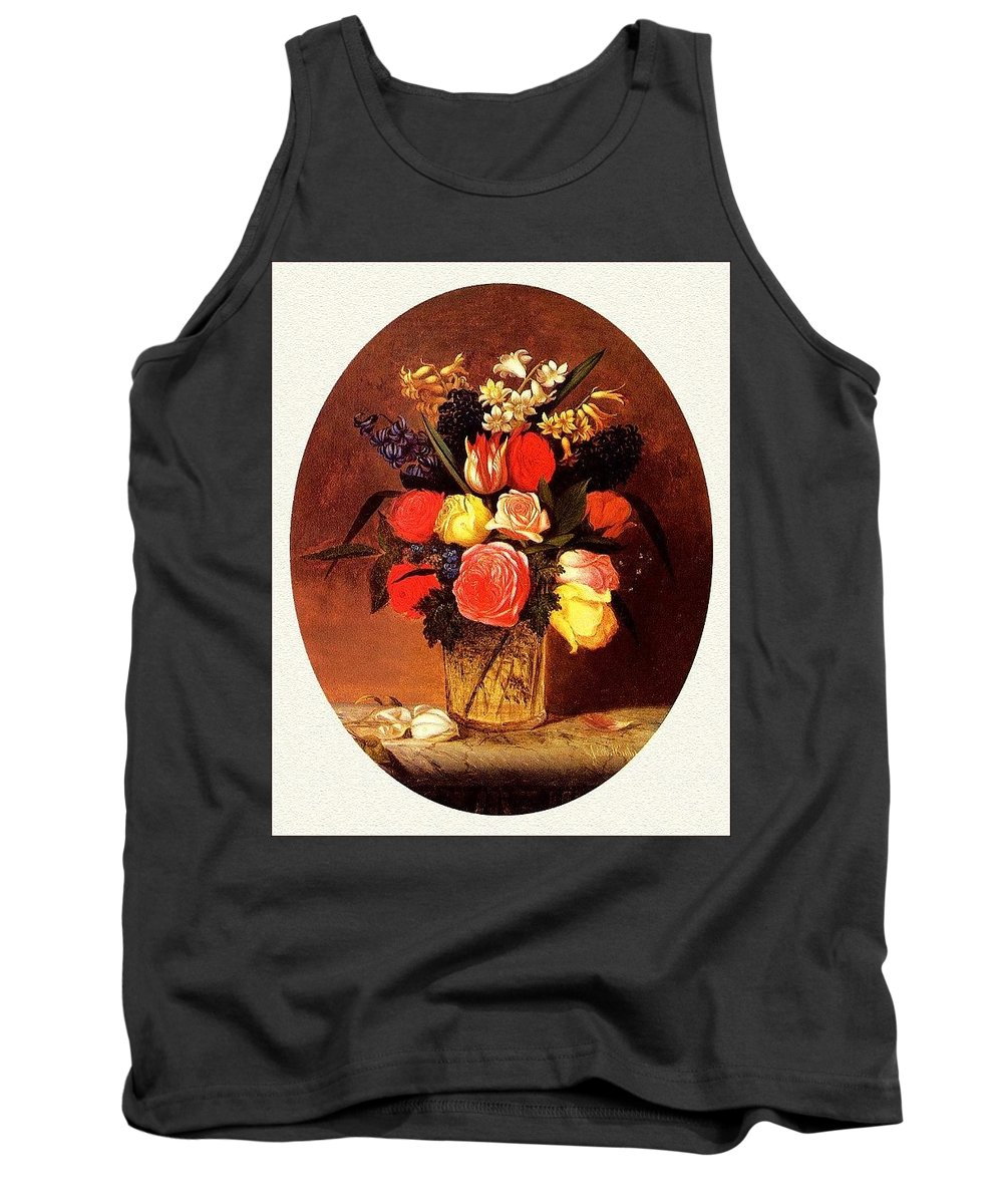 Seat Tank Top featuring the digital art bs-flo- James Henry Wright- Flower Still Life James Henry Wright by Eloisa Mannion