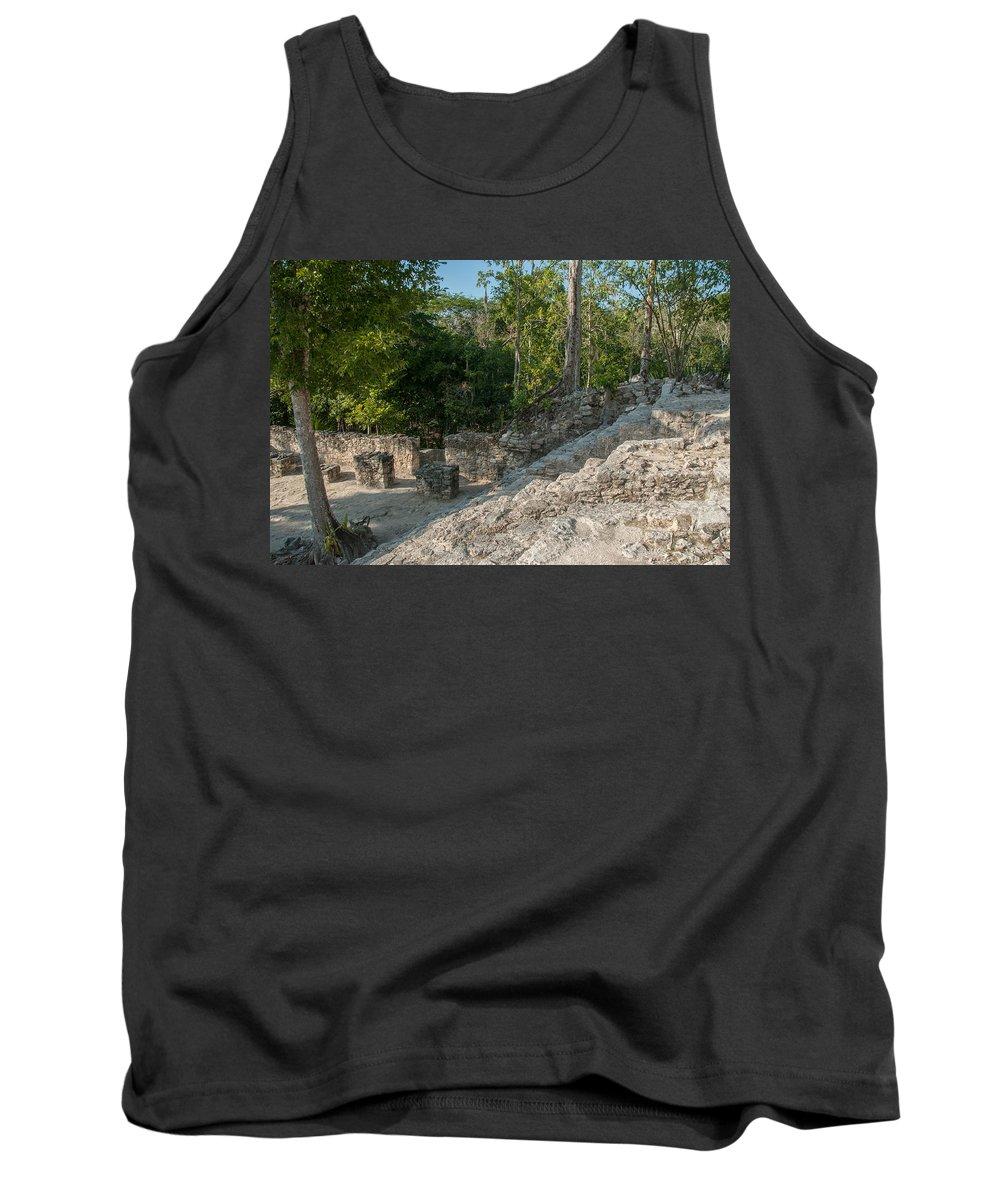 Mexico Quintana Roo Tank Top featuring the digital art Grupo Coba At The Coba Ruins by Carol Ailles