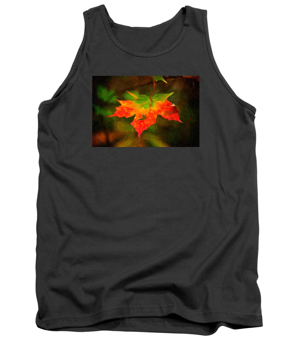 Digital Painting Tank Top featuring the painting Maple Leaf by Andre Faubert