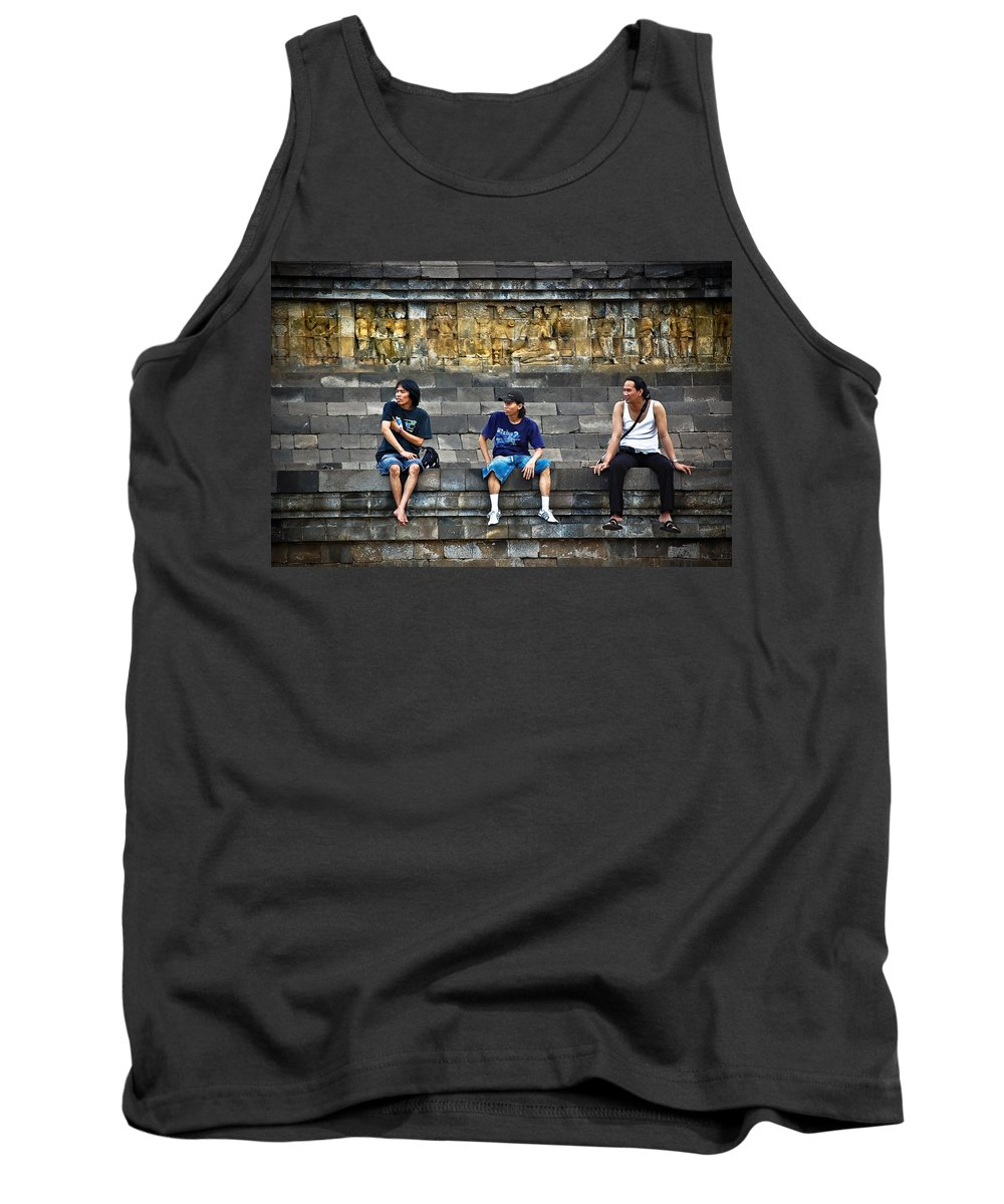 Men Tank Top featuring the photograph 3 Men Watching by Charuhas Images