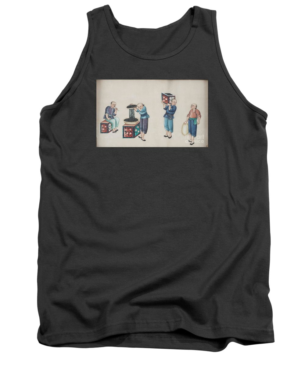 Portraying The Chinese Tea Traders Tank Top featuring the painting Portraying The Chinese Tea Traders by Celestial Images