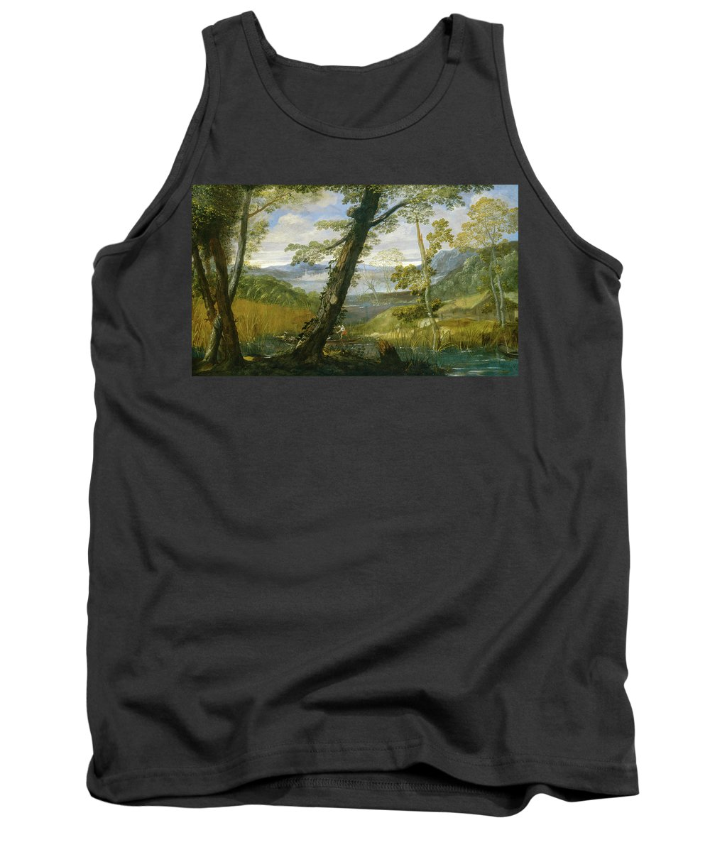 Landscape Tank Top featuring the painting River Landscape by Annibale Carracci