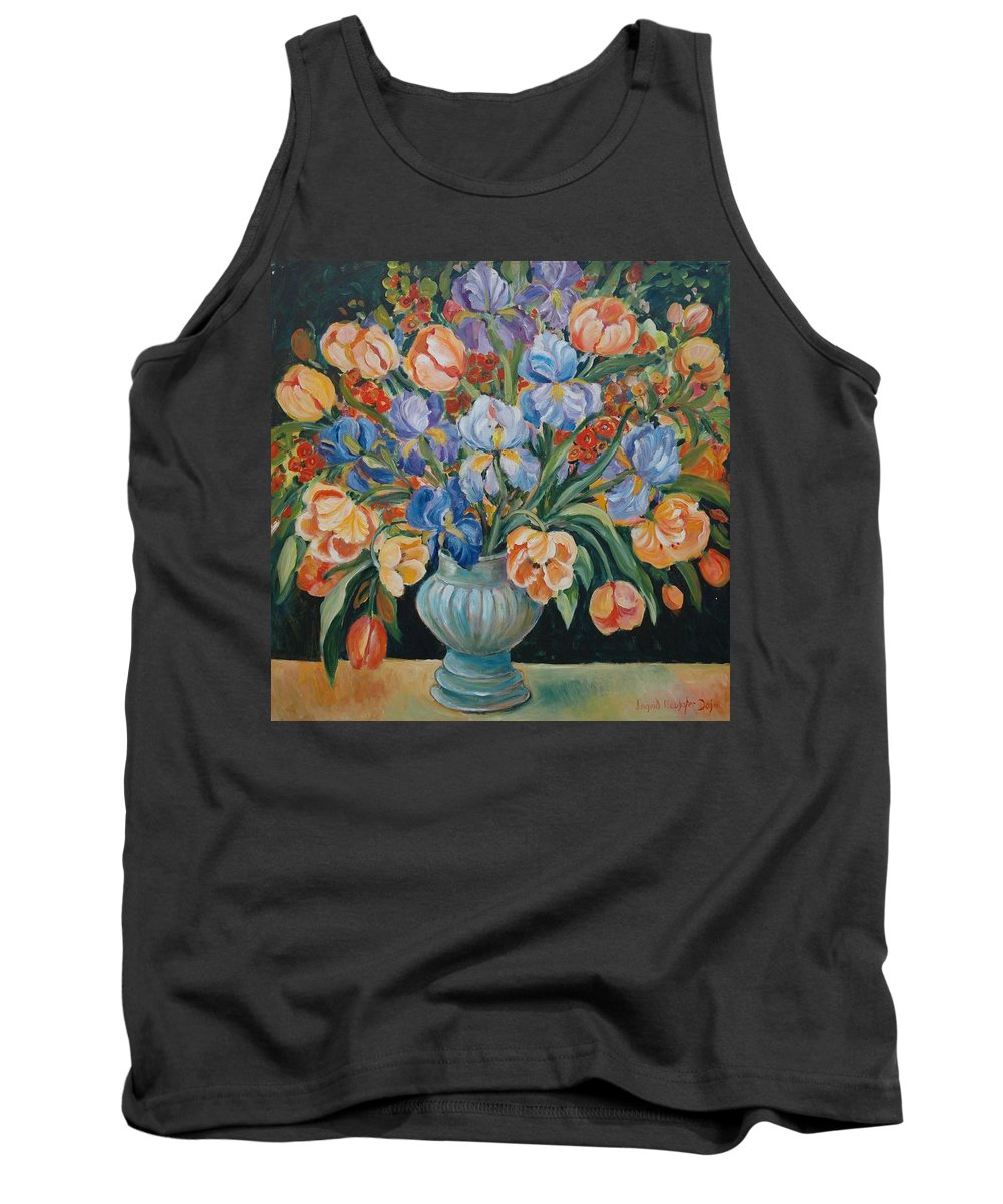 Still Life Tank Top featuring the painting Tulips by Ingrid Dohm