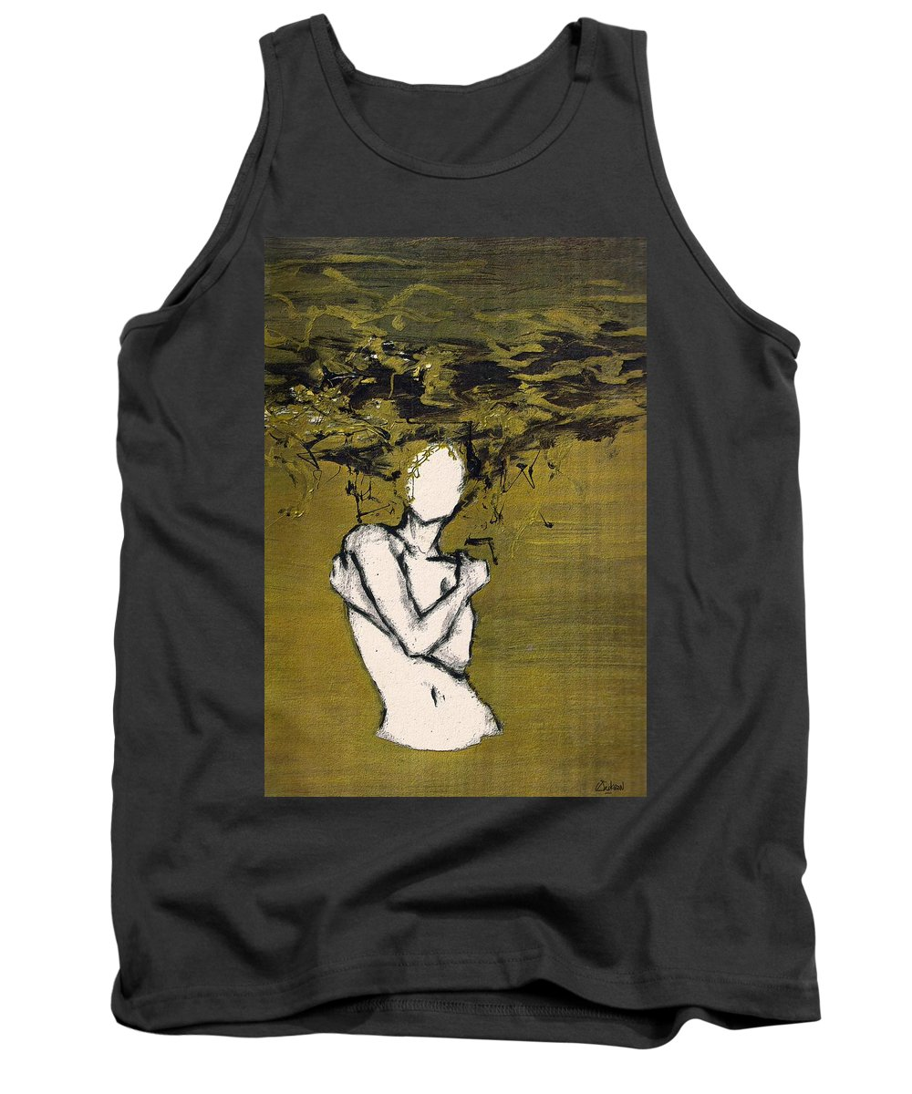 Gold Woman Hair Bath Nude Tank Top featuring the mixed media Untitled by Veronica Jackson