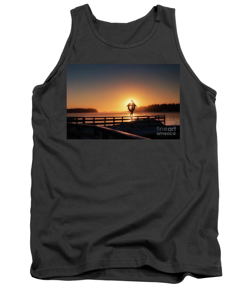 Winter Cold February Evening Baltic Sea Gulf Of Finland Ice Floe Shapes Shapes Pattern Patterns Blue Seaside Forest Silhouette Sun Sunset Afterglow Reflection Reflections Rock Finland Pier Snow Cover Tank Top featuring the pyrography Winter By The Sea by Anita Raunio