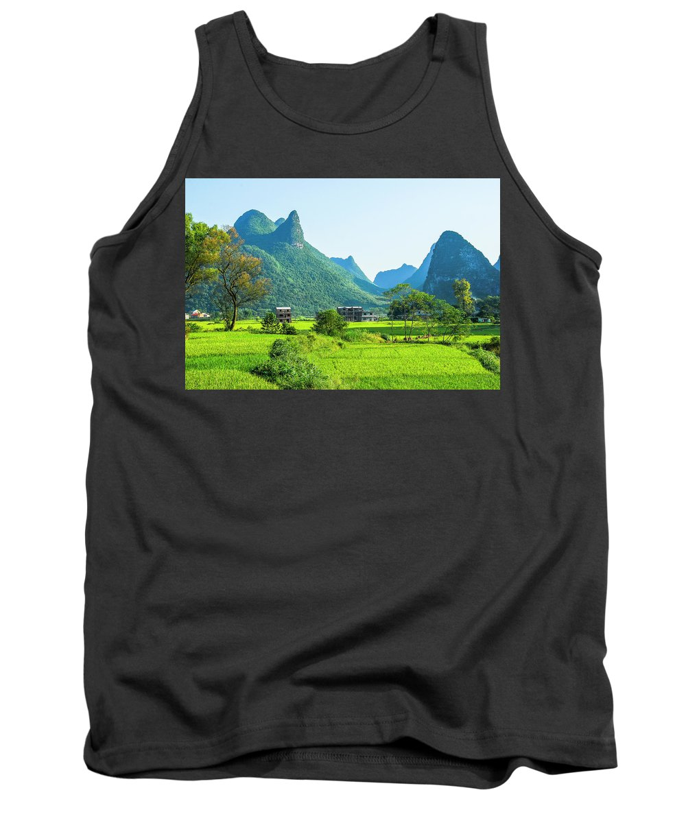 Karst Tank Top featuring the photograph Rural Scenery In Summer by Carl Ning