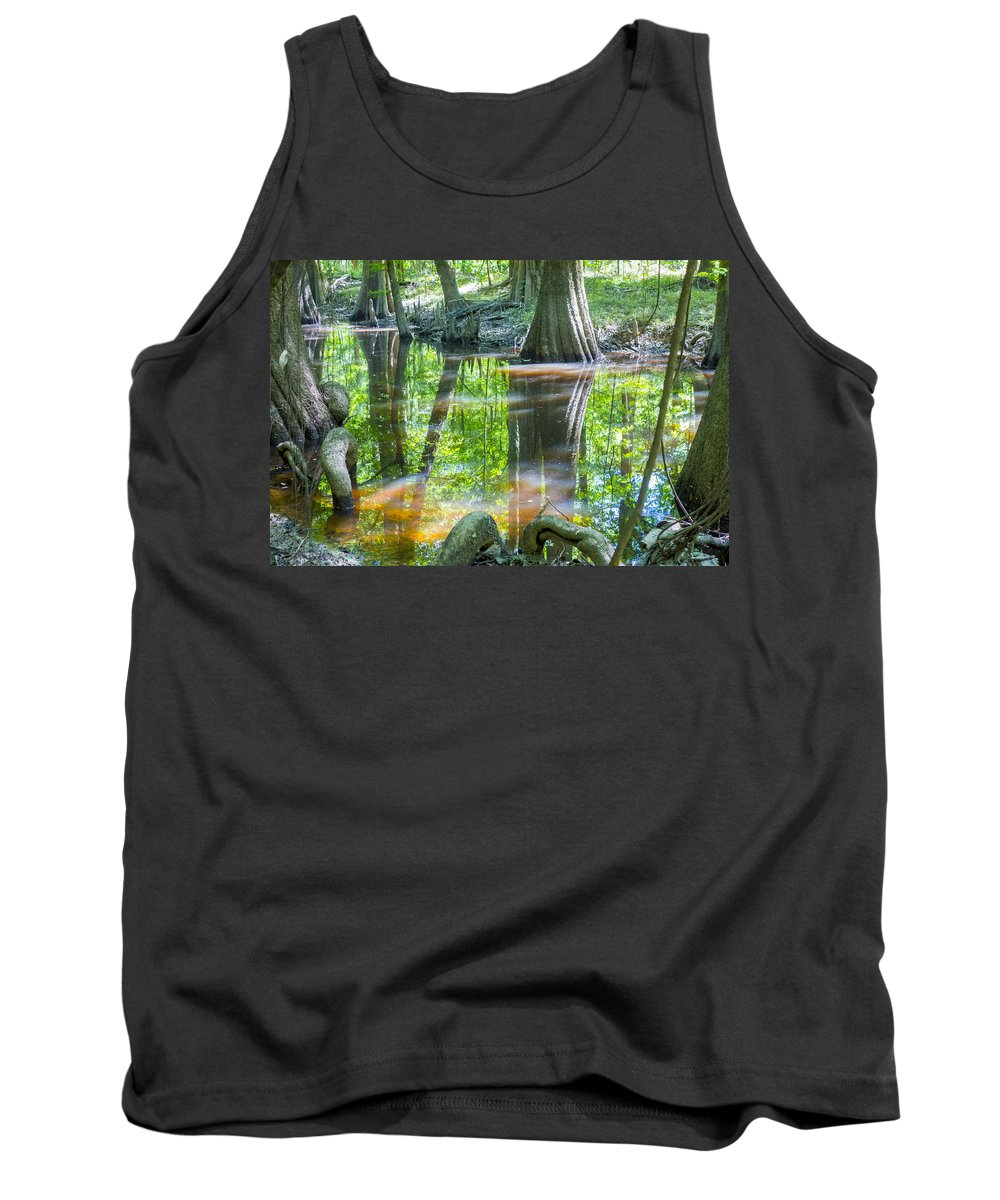 Carolina Tank Top featuring the photograph cypress forest and swamp of Congaree National Park in South Caro by Alex Grichenko