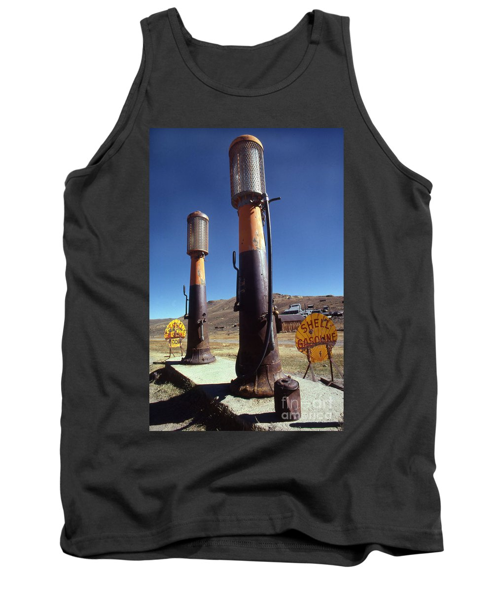 Galifornia Tank Top featuring the photograph 35-cents-a-gallon by Norman Andrus