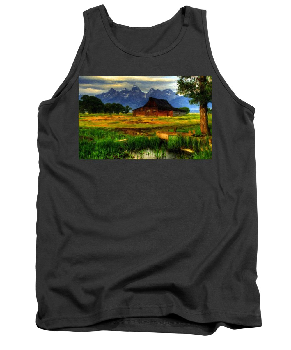 Landscape Tank Top featuring the digital art Oil Painting Landscape Pictures by Usa Map