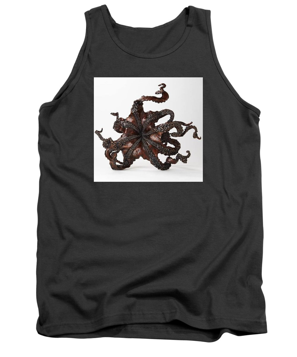 Octopus Tank Top featuring the sculpture Cephalopod by Kirk McGuire Bronze Sculpture