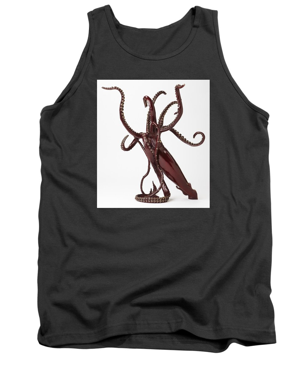 Giant Squid Tank Top featuring the sculpture Legend by Kirk McGuire Bronze Sculpture