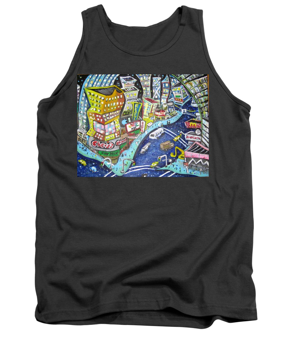 Times Square Tank Top featuring the painting 42nd And 8th Street by Jason Gluskin