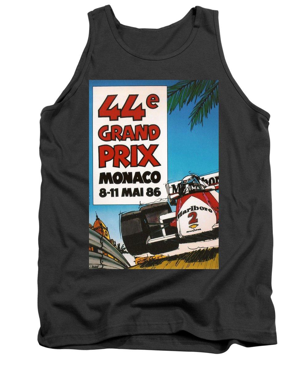 Monaco Grand Prix Tank Top featuring the digital art 44th Monaco Grand Prix 1986 by Georgia Fowler