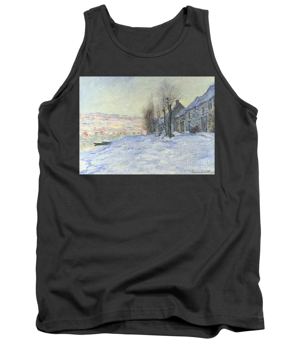 Claude Tank Top featuring the painting Lavacourt Under Snow by Claude Monet