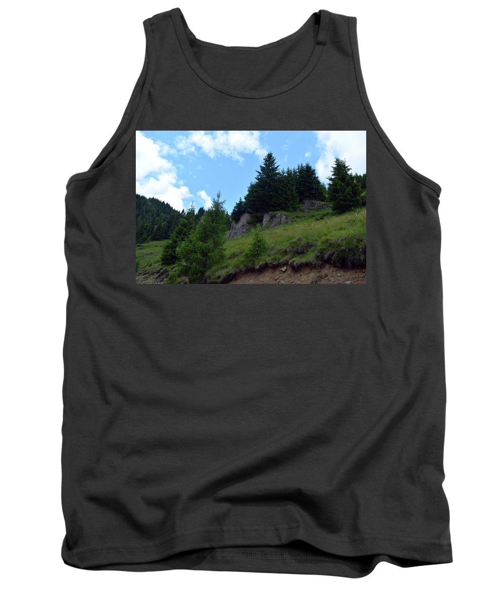 Sky Tank Top featuring the photograph Natural Scenery With Mountains And Cloudy Sky. by Oana Unciuleanu