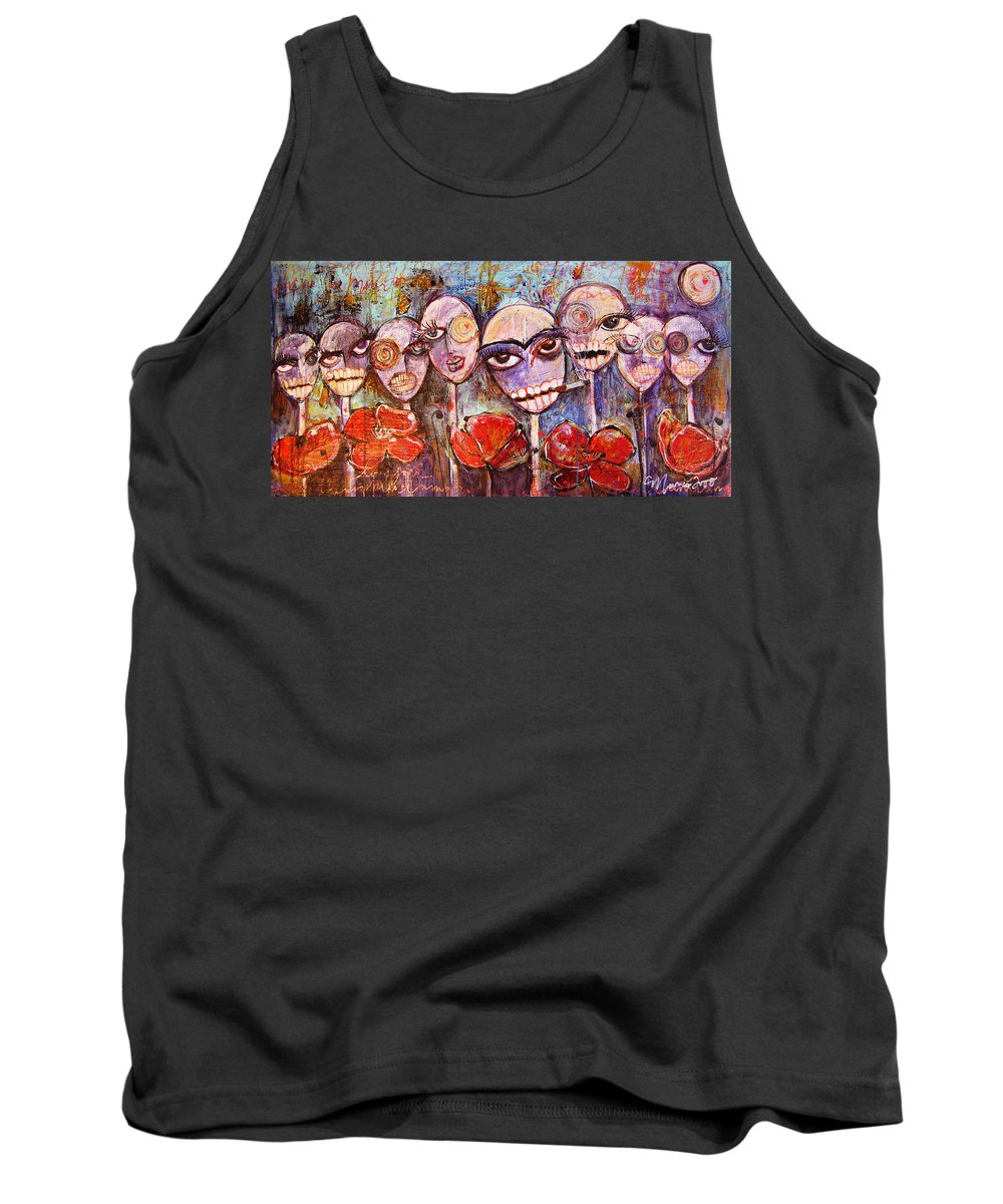 Dia De Los Muertos Tank Top featuring the painting 5 Poppies For The Dead by Laurie Maves ART