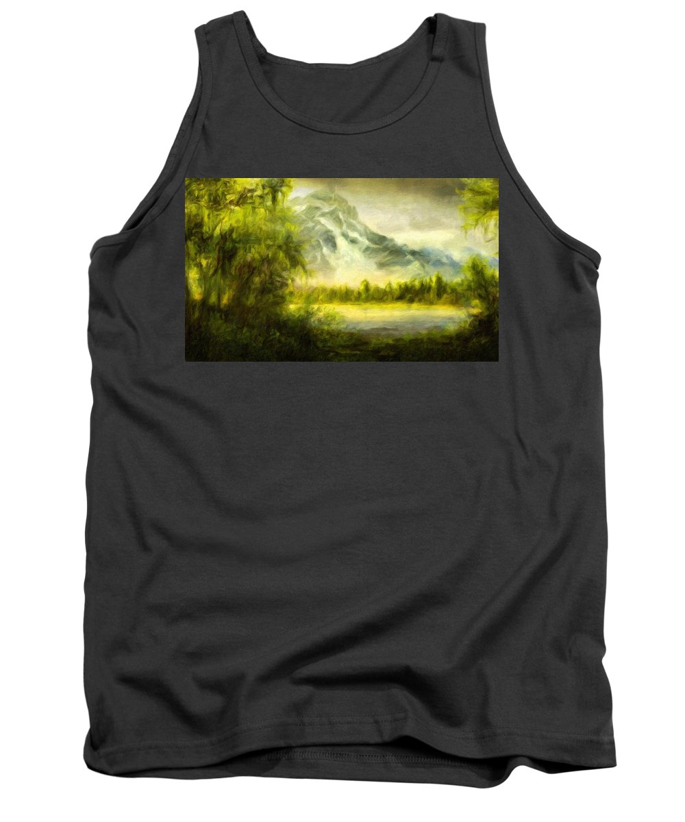 Landscape Tank Top featuring the painting Landscape Nature Drawing by World Map