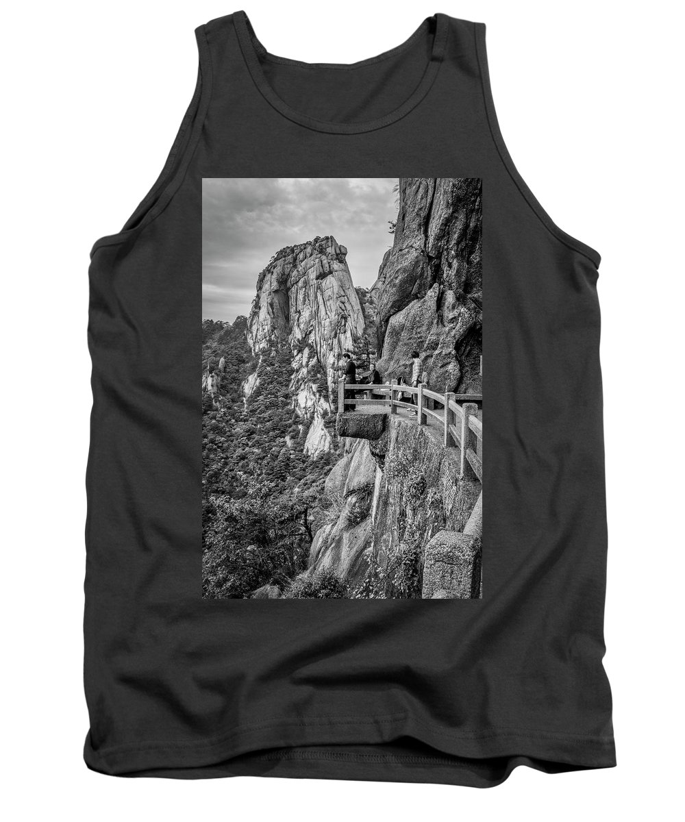 Anhui Province Tank Top featuring the photograph 5807- Yellow Mountains Black And White by David Lange