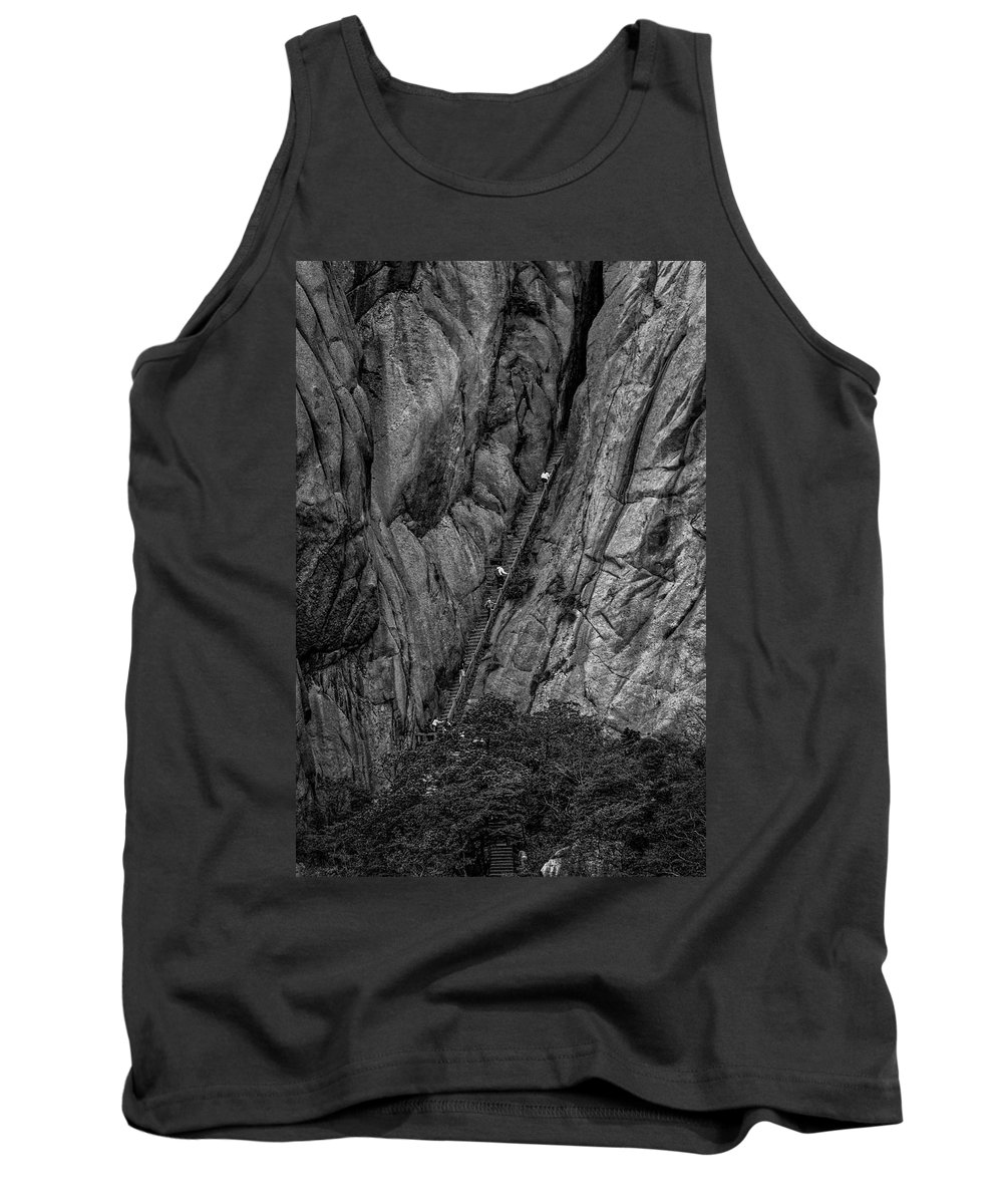 Anhui Province Tank Top featuring the photograph 5840- Yellow Mountains Black And White by David Lange