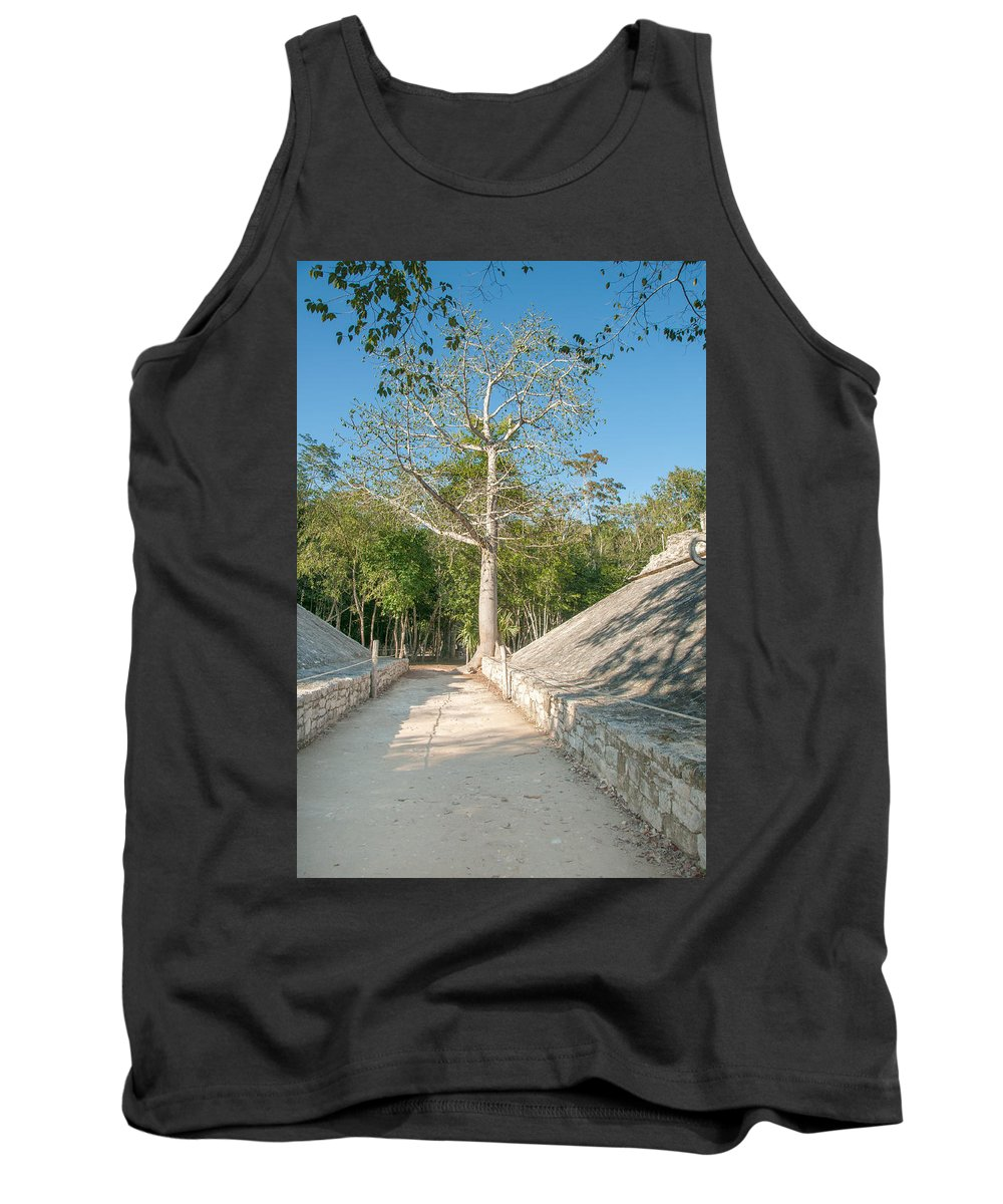 Mexico Quintana Roo Tank Top featuring the digital art Ball Court At The Coba Ruins by Carol Ailles