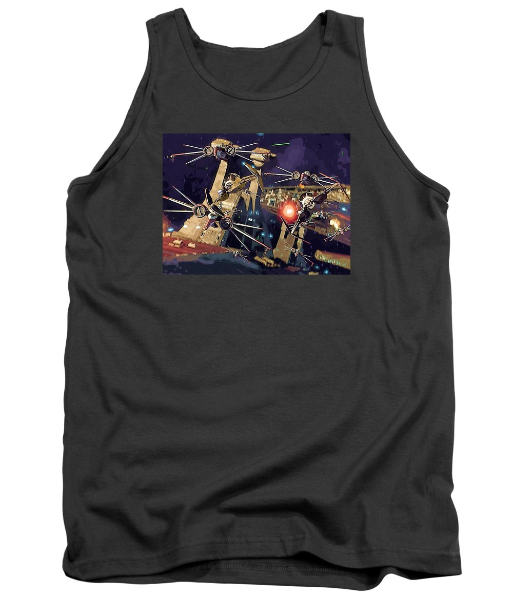 Imperial Star Wars Tank Top featuring the digital art Video Star Wars Poster by Larry Jones