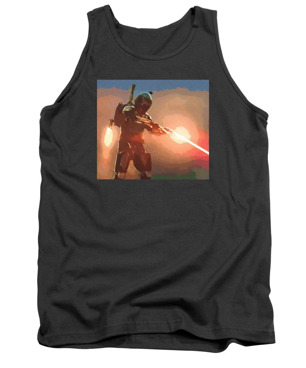 Star Wars Republic Tank Top featuring the digital art Star Wars Movie Poster by Larry Jones
