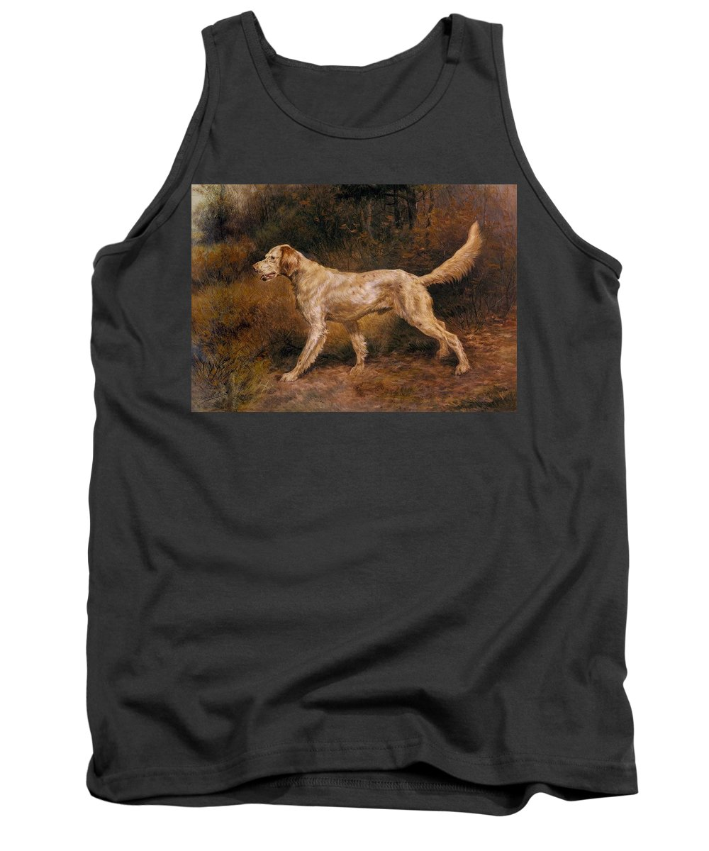 Dog Tank Top featuring the digital art Osthaus Edmund Henry Commissioner A Champion English Setter Edmund Henry Osthaus by Eloisa Mannion