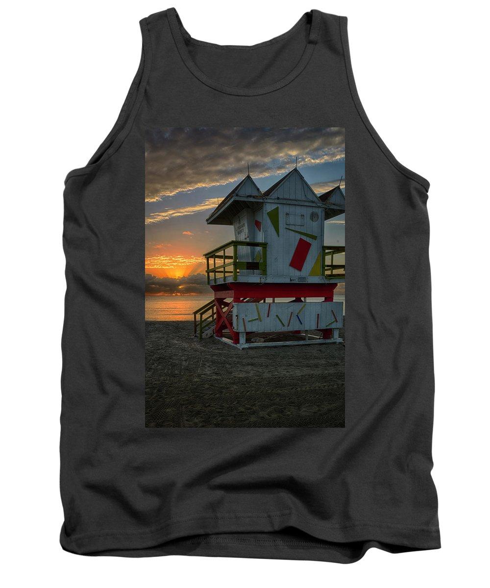 Atlantic Tank Top featuring the photograph 8097- Miami Beach Sunrise by David Lange