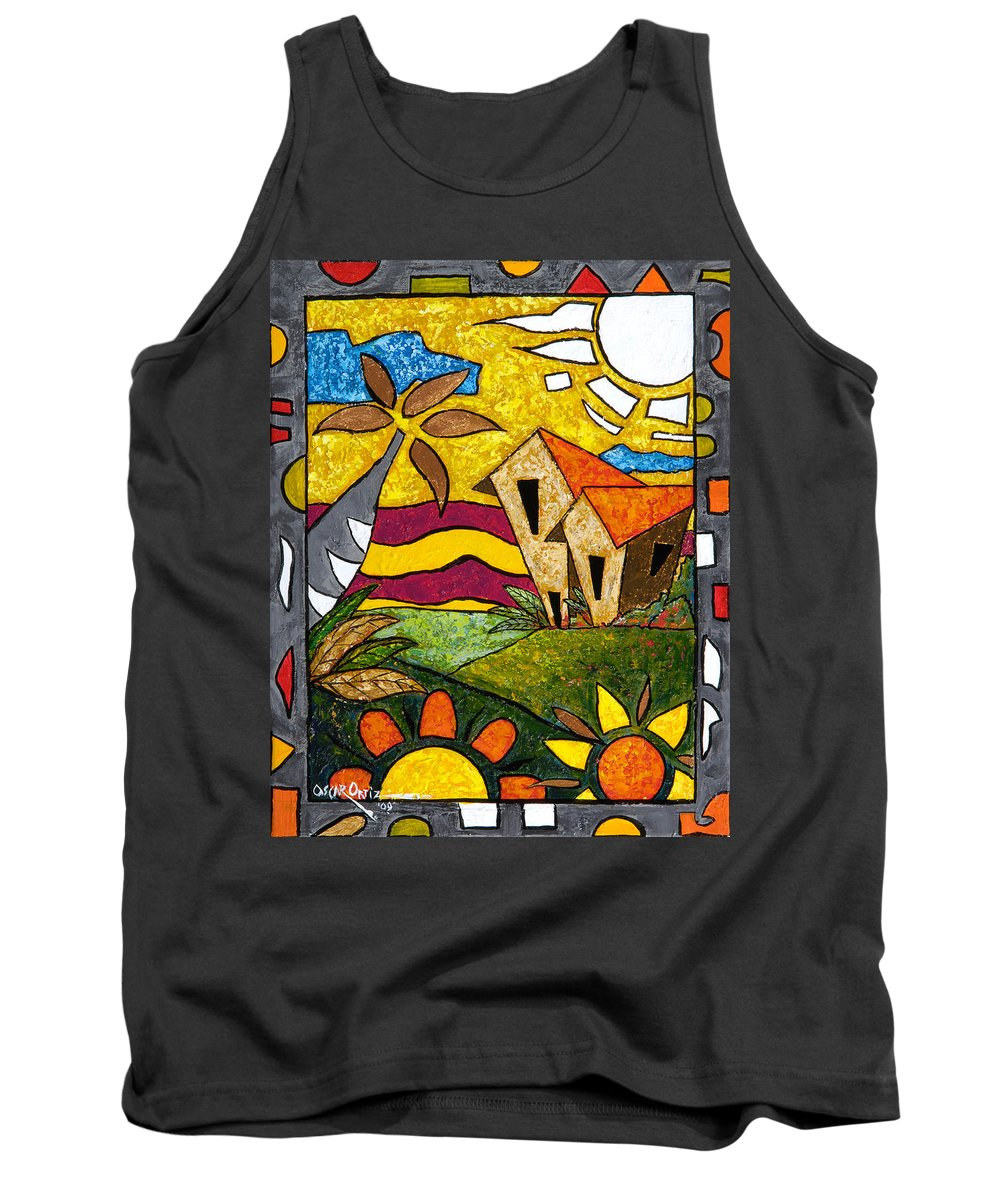 Puerto Rico Tank Top featuring the painting A Beautiful Day by Oscar Ortiz