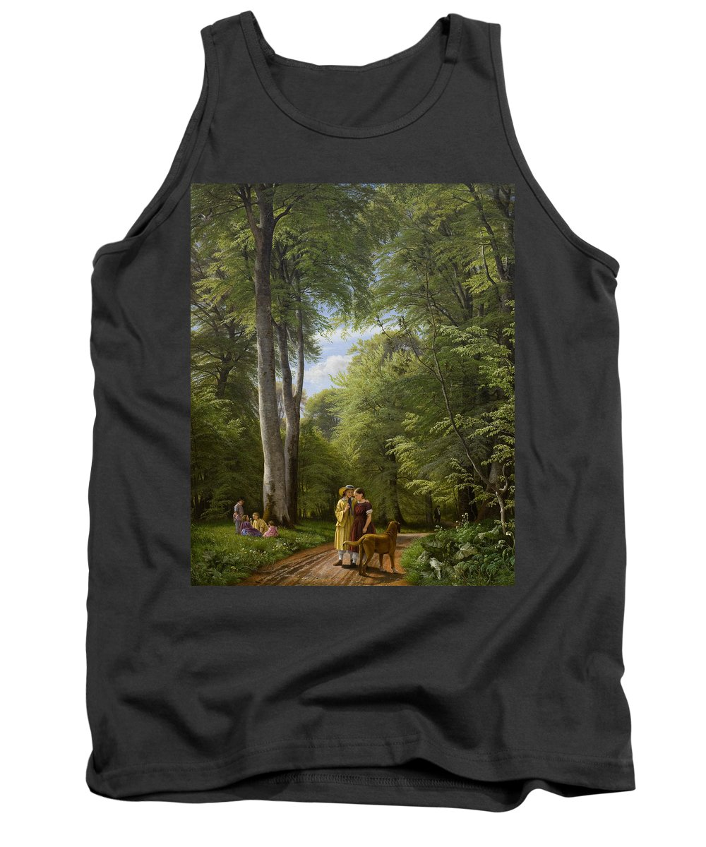 Woodland Tank Top featuring the painting A Beech Wood In May Near Iselingen Manor by Peter Christian Skovgaard